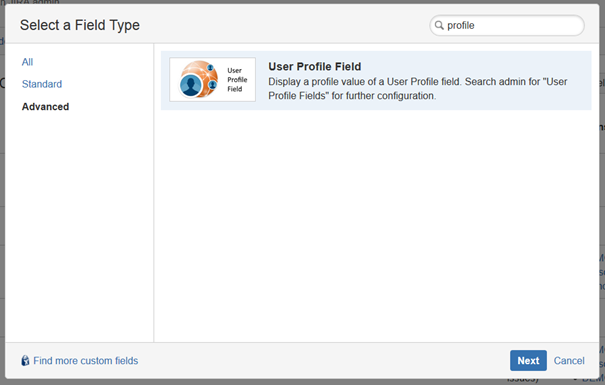 Select User Profile Field Type