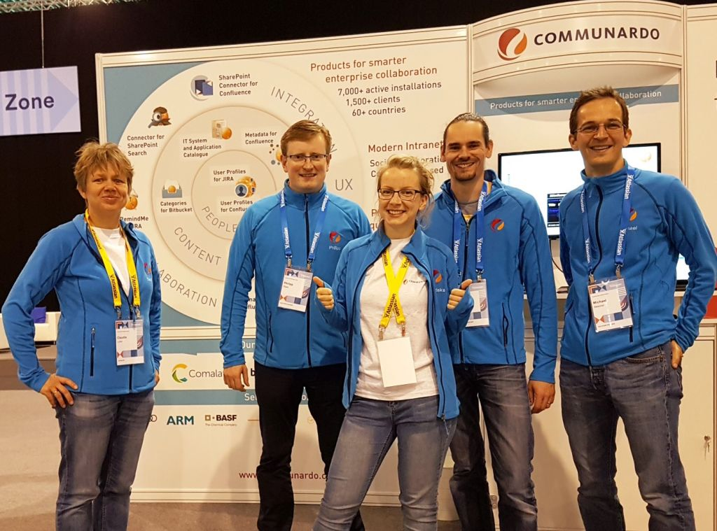 The Communardo Team in blue at the Atlassian Summit