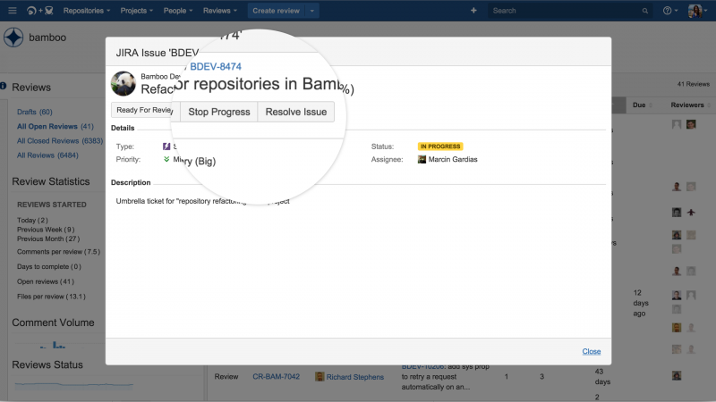 viewing a JIRA issue inside of FishEye Crucible
