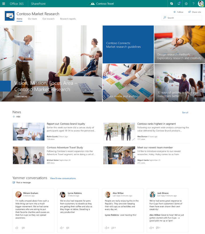 intelligent social intranet with Yammer and SharePoint