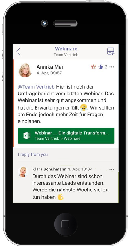 Chat in der Microsoft Teams App