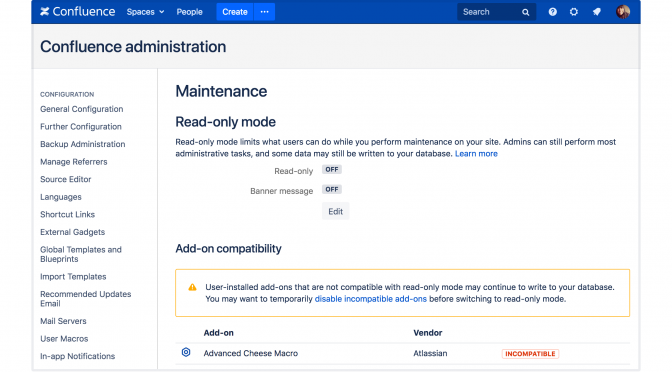 read only maintenance off