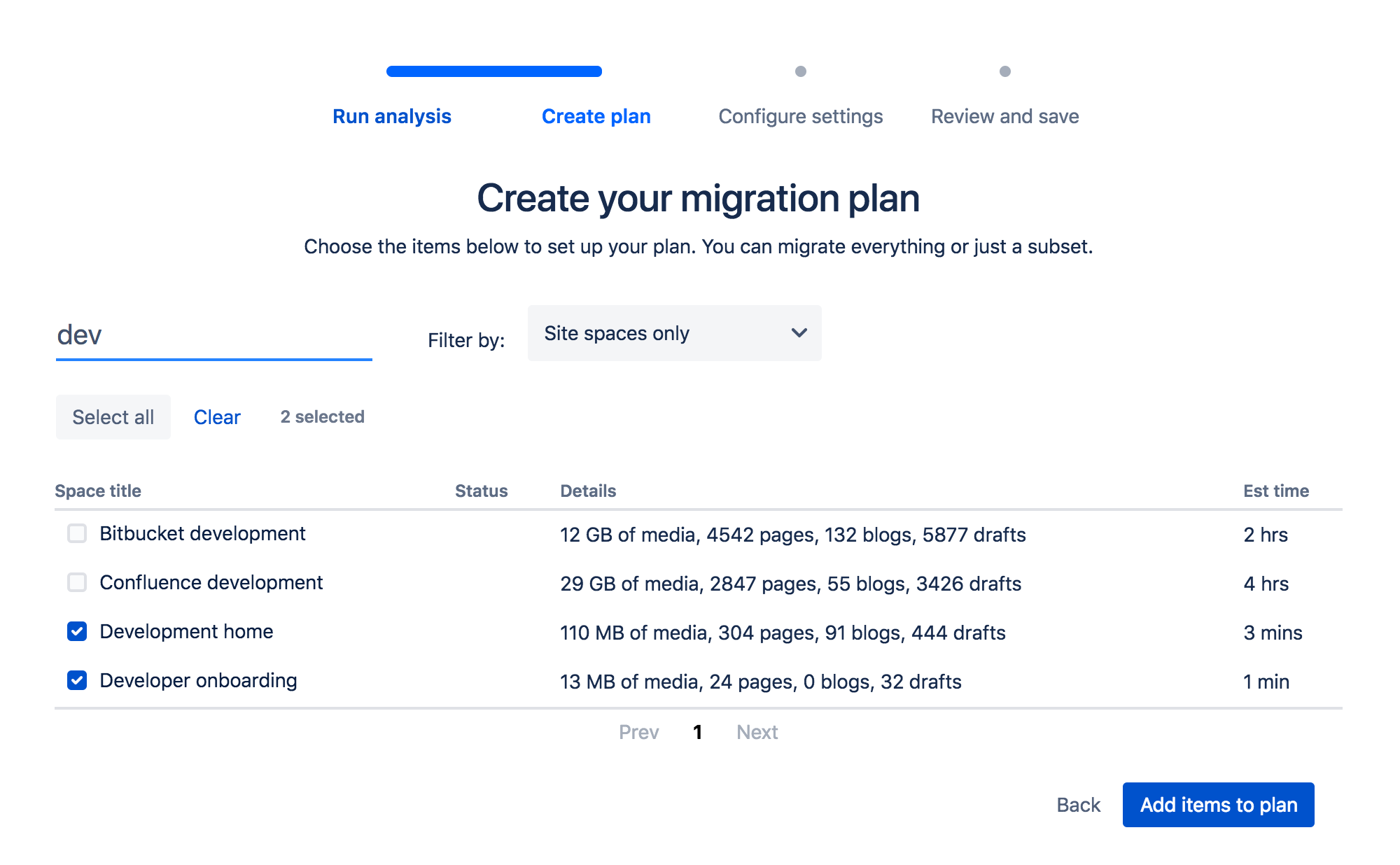 Migration Assistant Select Spaces Confluence 6.13