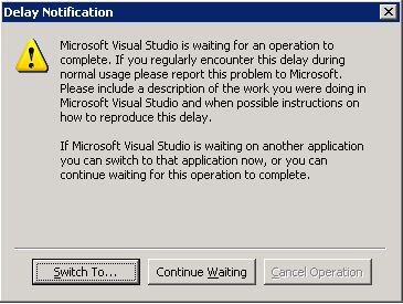 Here you can see the error message thrown by visual studio